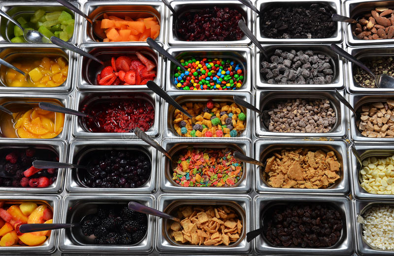 Frozen Yogurt with Toppings stock photos