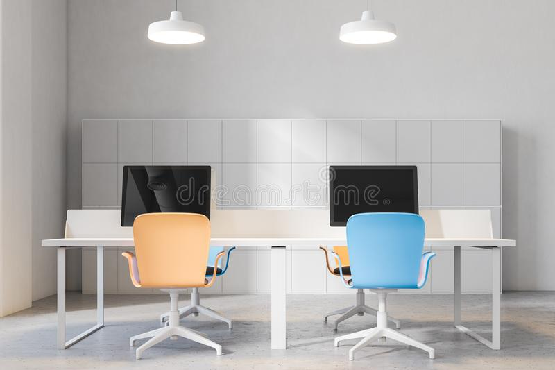 Frtont view of orange and blue chairs office. Orange and blue chairs open office interior with a conrete floor, rows of computer desks and blue and orange office royalty free illustration