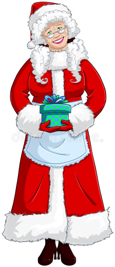 Fru Santa Claus som rymmer en Present för jul vektor illustrationer