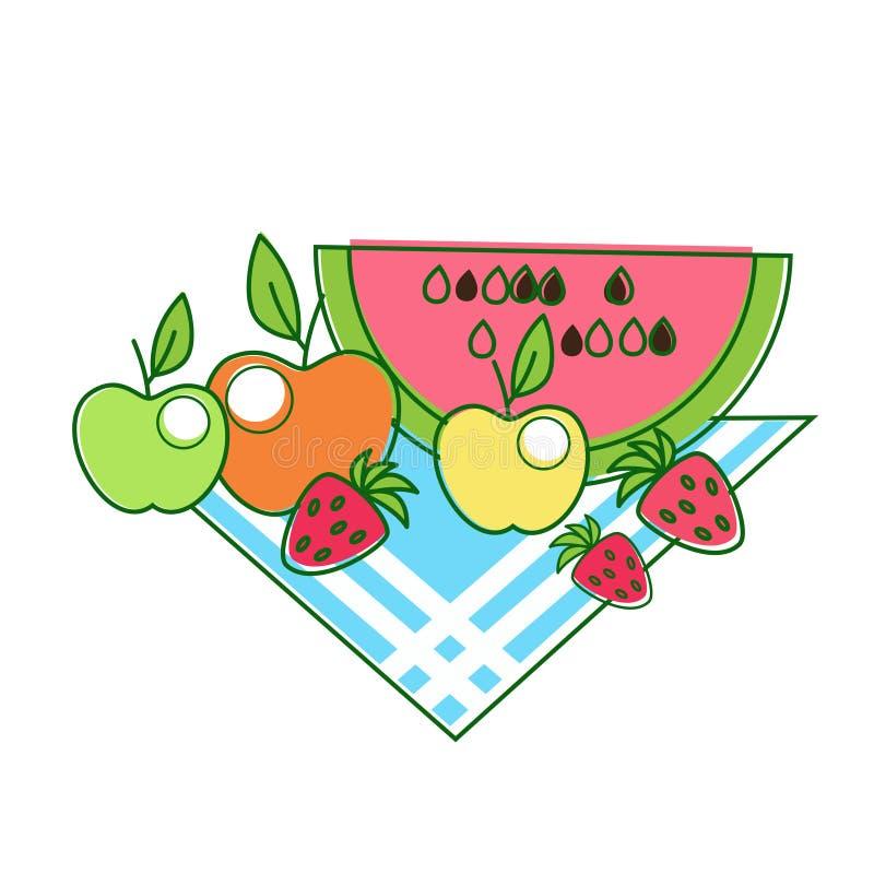 Frucht-Apfel-Wassermelonen-Erdbeere auf Serviette vektor abbildung