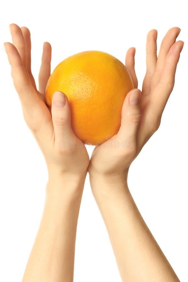 Frucht in den Händen lizenzfreie stockbilder