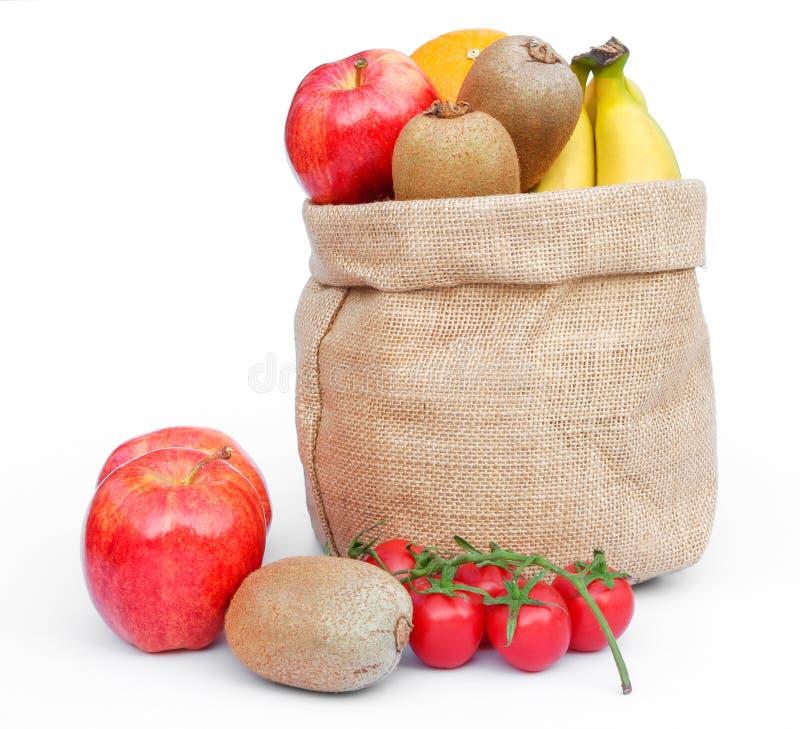 Frucht in der Juteleinwand stockfotos