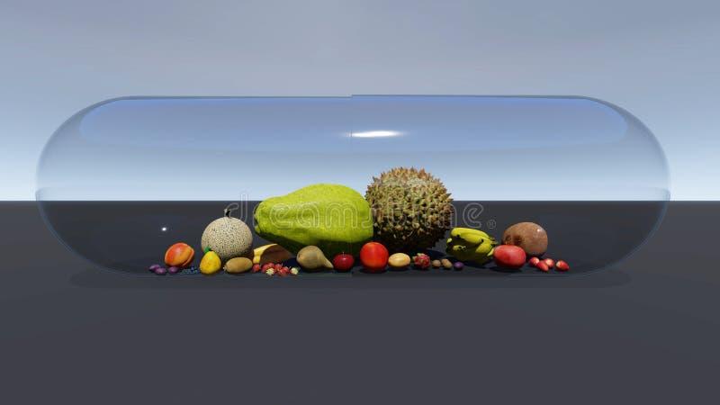 Frucht in der Pillenkapsel lizenzfreie abbildung