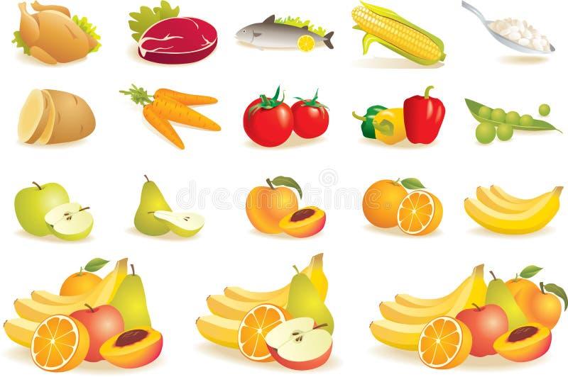 Frucht, Gemüse, Fleisch, Maisikonen lizenzfreie abbildung