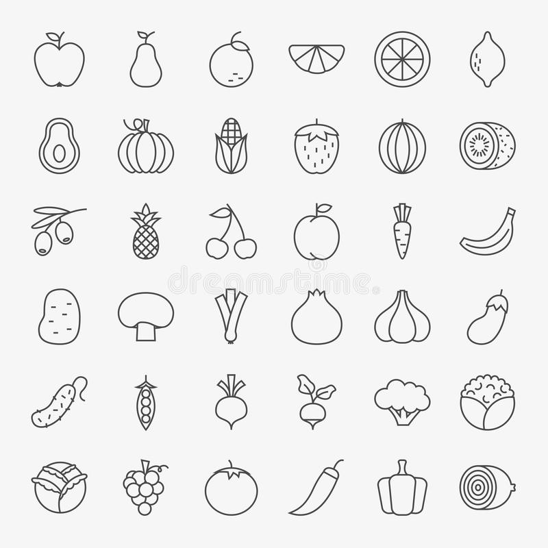 Frucht-Gemüse-Linie Art Icons Big Set vektor abbildung