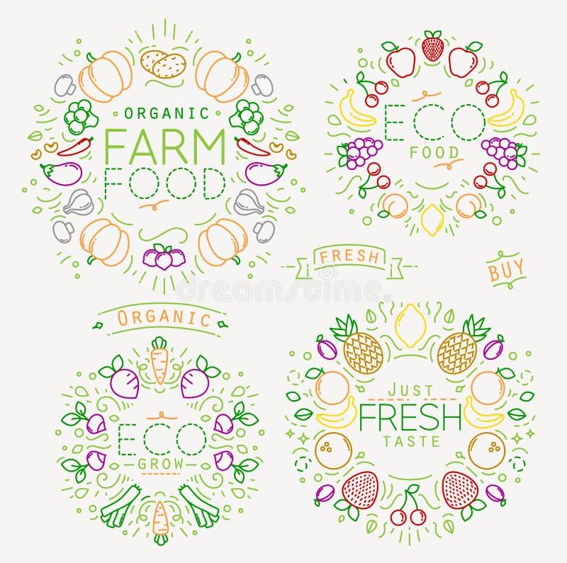 Frucht-Gemüse-Monogramm-Farbe lizenzfreie abbildung