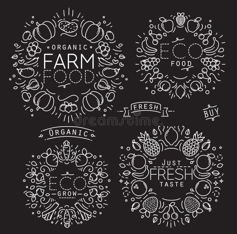 Frucht-Gemüse-Monogramm-Schwarzes stock abbildung