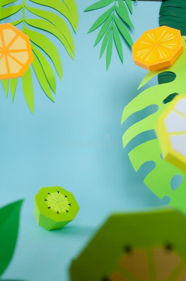 Frucht gemacht vom Papier Hintergrund für eine Einladungskarte oder einen Glückwunsch tropen vektor abbildung