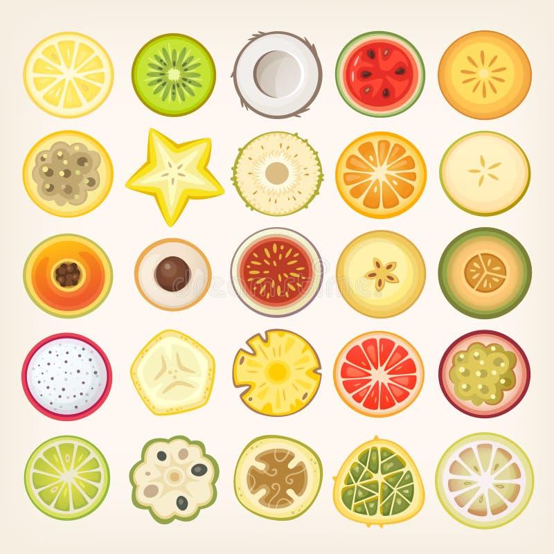 Frucht geschnitten zur Hälfte lizenzfreie abbildung