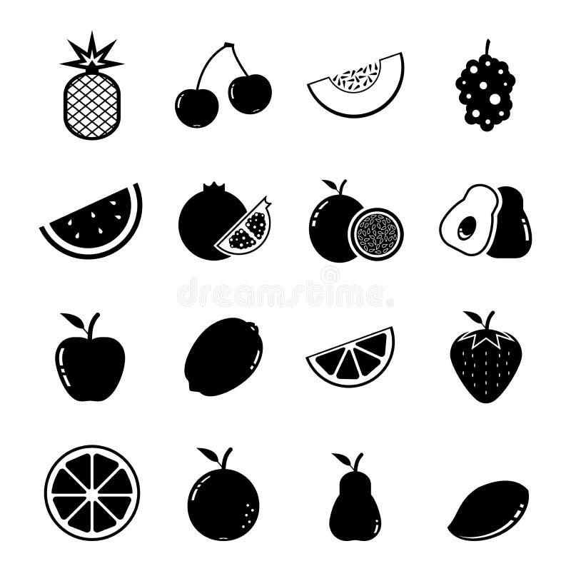 Frucht-Ikonensatz stock abbildung