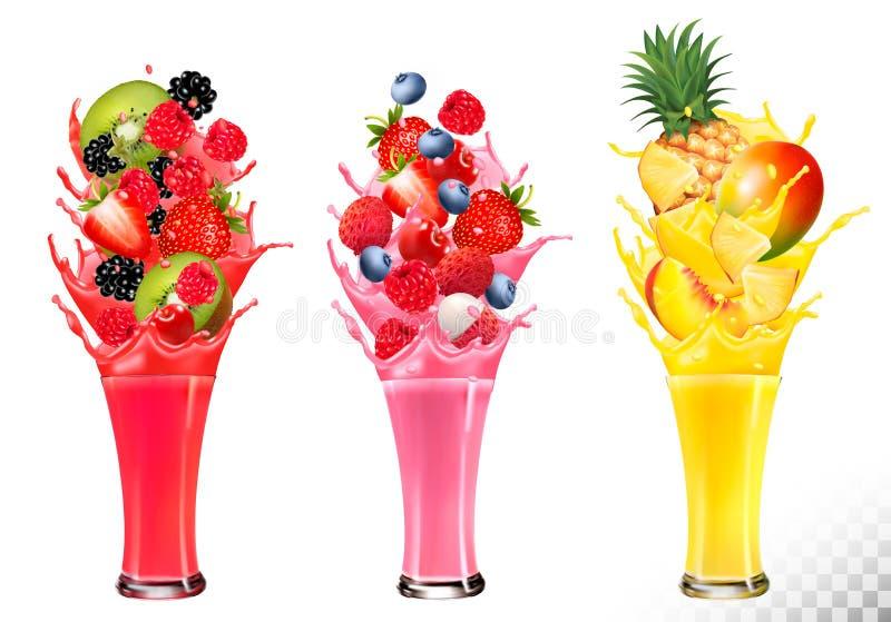 Frucht im Saft spritzt Erdbeere, Guave, Kiwi, vektor abbildung