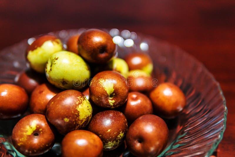 Frucht, Jujubeballbraun-Farbgrün lizenzfreies stockfoto