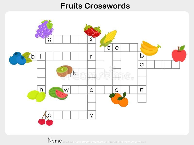 Frucht-Kreuzworträtsel-Arbeitsblatt Vektor Abbildung - Illustration ...