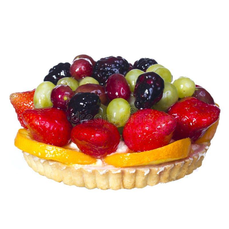 Frucht-Kuchen lokalisiert auf Weiß. Süßspeise lizenzfreie stockfotografie