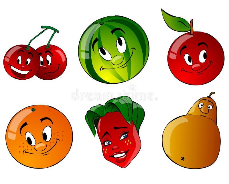 Frucht mit sechs Karikaturen vektor abbildung