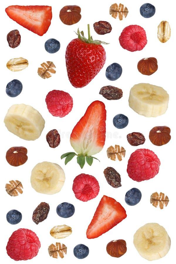Frucht muesli Bestandteile zum Frühstück mit Früchten mögen Banane a lizenzfreies stockfoto
