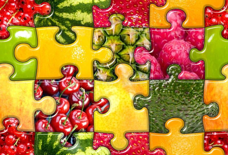 Frucht-Puzzlespiel nahtlos lizenzfreies stockfoto