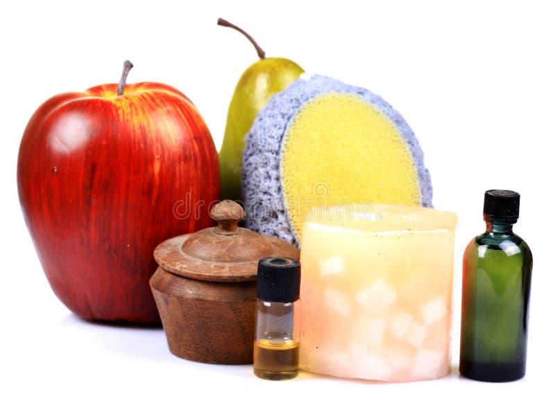 Frucht scheuern sich und Schmieröle lizenzfreies stockbild