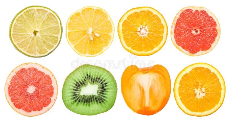 Frucht schneidet die lokalisierte Sammlung stockfotografie