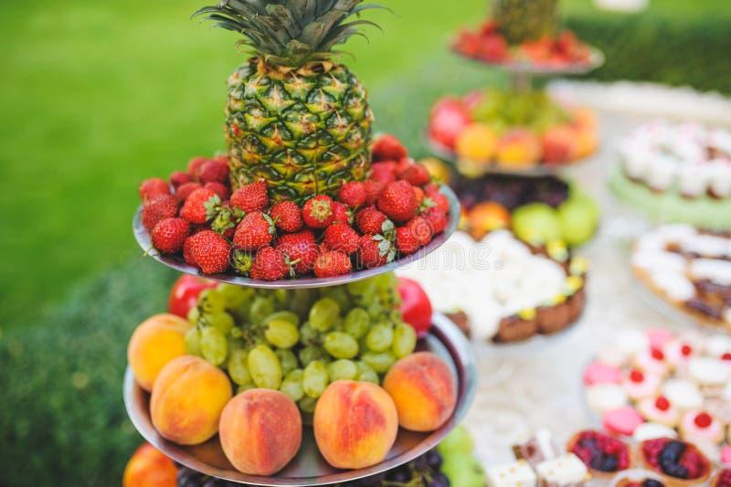 Frucht-Silbertablett stockfotografie