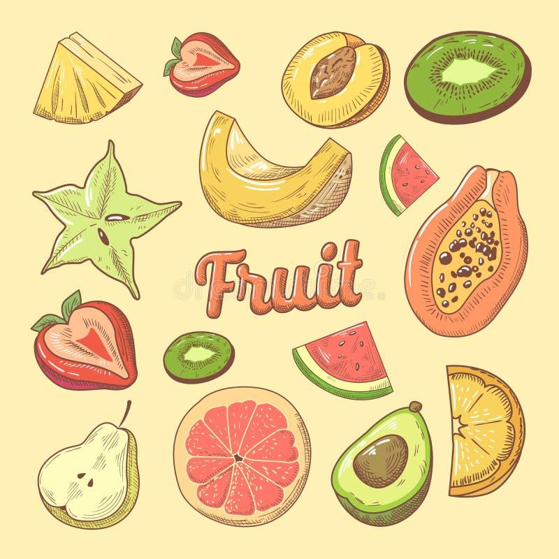 Frucht-Stück-Hand gezeichnetes Gekritzel mit Papaya, Wassermelone und Ananas Natürliche Nahrung lizenzfreie abbildung