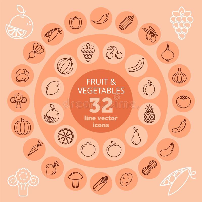 Frucht- u. Gemüseikonen lizenzfreie abbildung