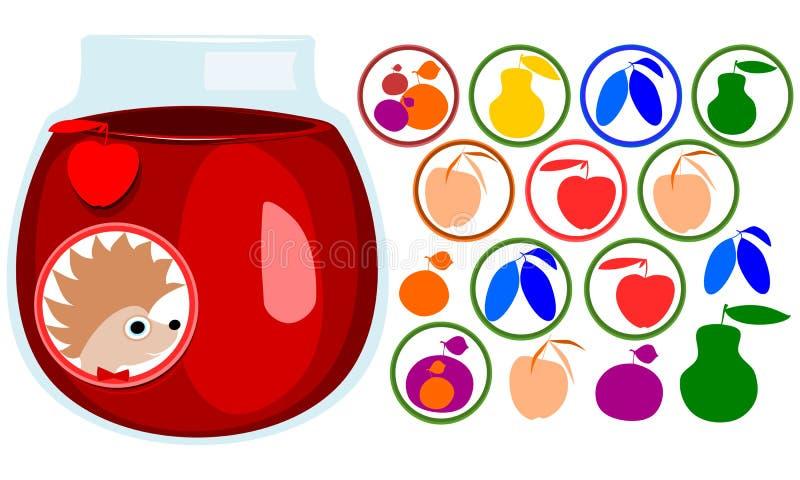 Fruchtaufkleber eingestellt Igelgesicht mit Fliege, Aufkleber Ikonen des Apfels, Birne, Aprikose, Pflaume, Mirabellenkirsche Glas lizenzfreie abbildung