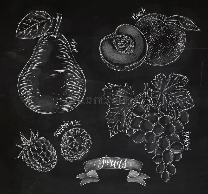 Fruchtbirne, Pfirsich, Himbeere, Traubenkreide vektor abbildung