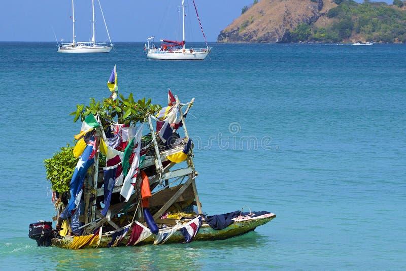 Fruchtboot in Rodney-Bucht in St Lucia, karibisch lizenzfreies stockfoto