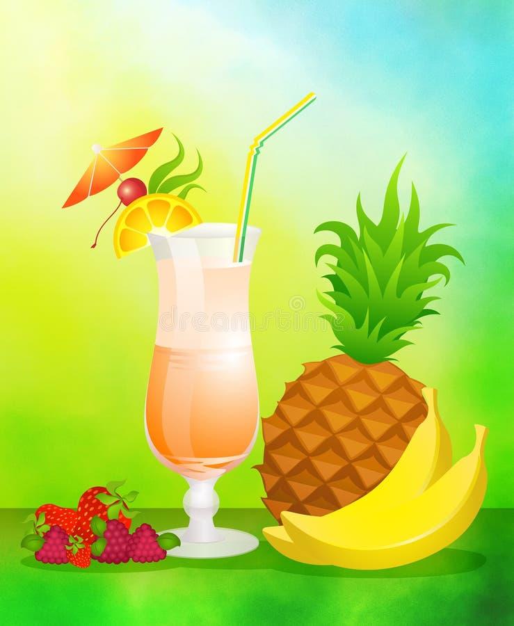 Fruchtcocktail mit Früchten lizenzfreie abbildung