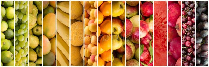 Fruchtcollage - Lebensmittelhintergrund stockbild