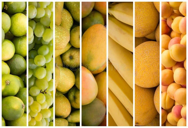 Fruchtcollage - Lebensmittelhintergrund lizenzfreies stockfoto