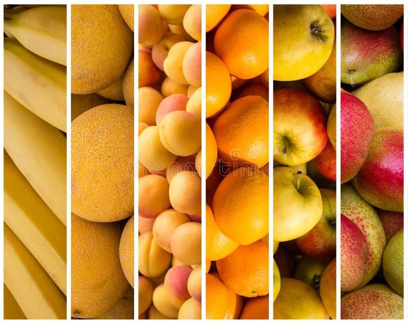 Fruchtcollage - Lebensmittelhintergrund lizenzfreie stockfotografie