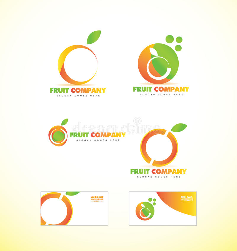 Fruchtfirmenorange Logoikone lizenzfreie abbildung