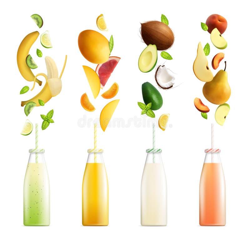 Fruchtige Smoothies-realistische Sammlung stock abbildung