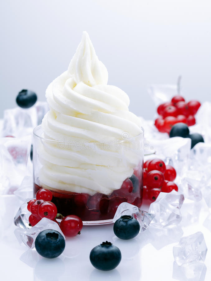 Fruchtiger gefrorener Joghurt lizenzfreie stockbilder