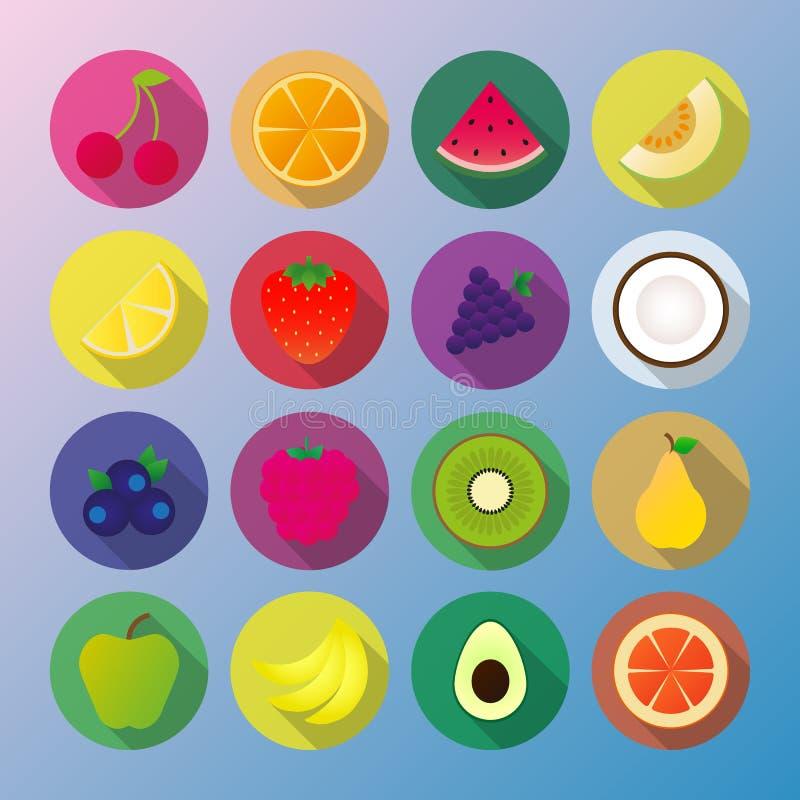 Fruchtikone, Traubenzitronenmelonenkokosnussblaubeerhimbeerkiwibirnenapfel-Avocadotraube der Wassermelonenbanane orange Kirscherd lizenzfreie abbildung