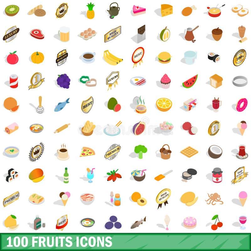 100 Fruchtikonen eingestellt, isometrische Art 3d lizenzfreie abbildung