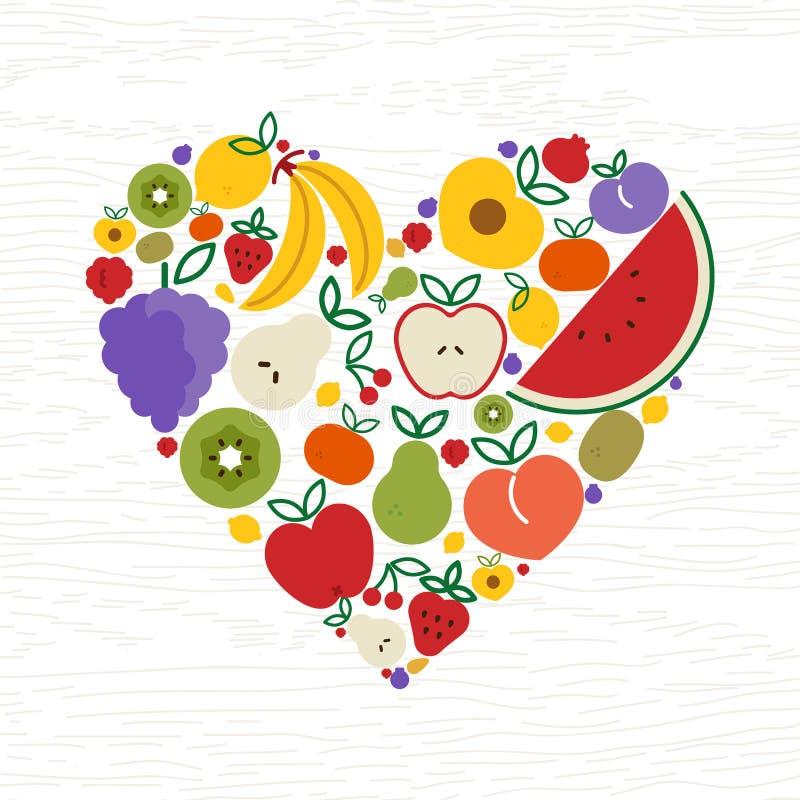 Fruchtikonen-Herzform für Konzept des biologischen Lebensmittels stock abbildung