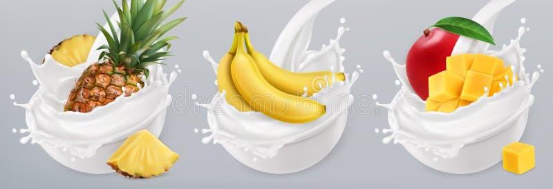 Fruchtjoghurt Ikonensatz des Vektors 3d stock abbildung