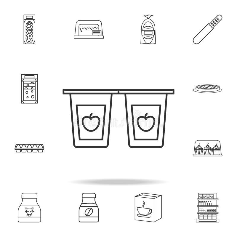 Fruchtjoghurt-Paketikone Ausführlicher Satz Shops und Grossmarktikonen Erstklassiges Qualitätsgrafikdesign Ein des Sammlung ico vektor abbildung