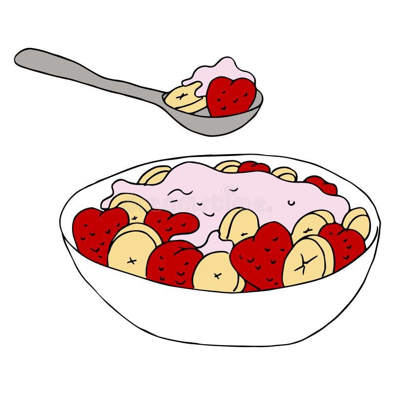 Fruchtjoghurt-Schüssel stock abbildung