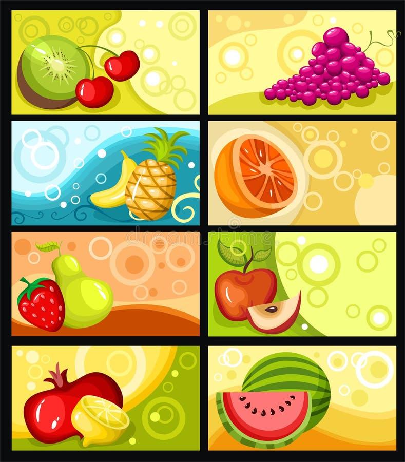 Fruchtkartenset vektor abbildung