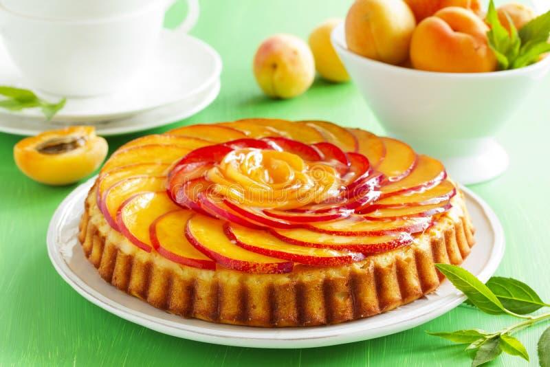 Fruchtkuchen mit Pfirsichen lizenzfreie stockfotografie