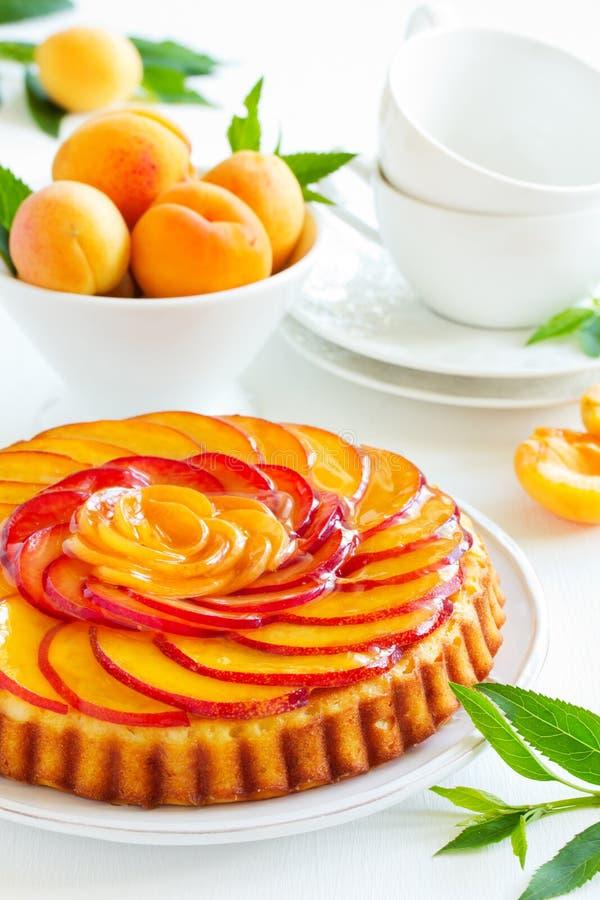 Fruchtkuchen mit Pfirsichen lizenzfreies stockbild