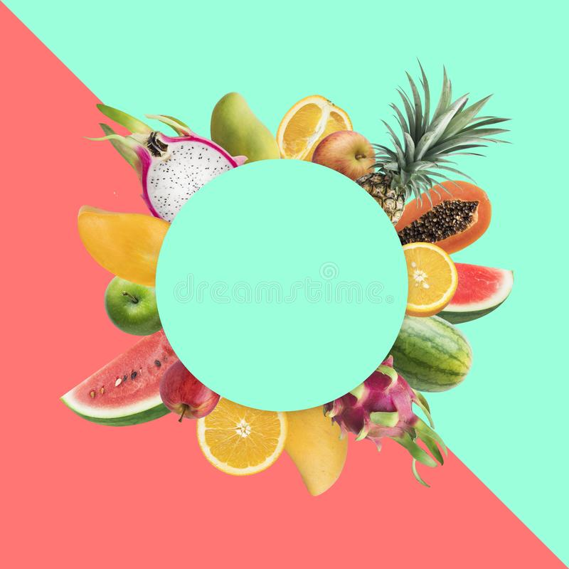 Fruchtmarkt-Festivalkonzeptideen mit buntem Kopienraum stockfotos