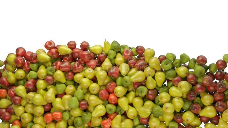 Fruchtmischung: Haufen von den Äpfeln und von Birnen lokalisiert stockbild