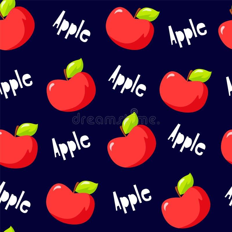 Fruchtmuster mit roten Äpfeln und Text auf schwarzem Hintergrund Vektor lizenzfreie abbildung