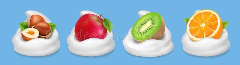 Fruchtnüsse im Jogurt Haselnüsse, Kiwifruit, roter Apfel, orange realistische Vektorikone lizenzfreie abbildung