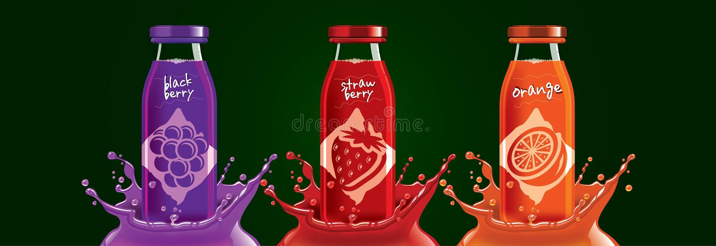 Fruchtsaftflaschenset, Brombeere, Erdbeere, orangefarbene Aufkleber lizenzfreie stockfotografie